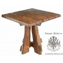 Деревянный стол 80x80 под старину из массива сосны Медведь, квадратный