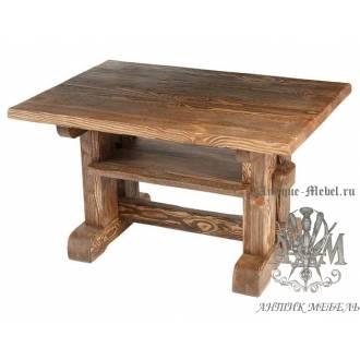 Деревянный 100x60 стол под старину из массива сосны Журнальный