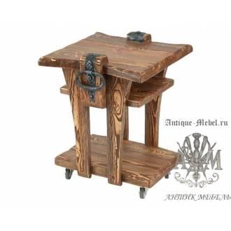 Деревянный стол под старину из массива сосны Кофейный
