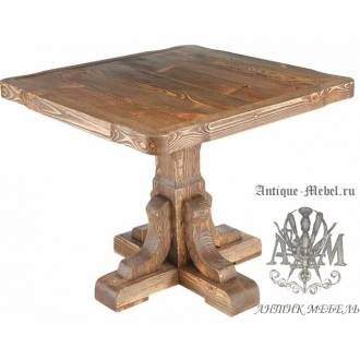 Деревянный стол 80x80 под старину из массива сосны Ришелье, квадратный