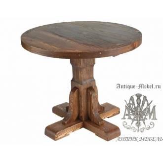 Деревянный стол 90x90 под старину из массива сосны Рошфор, круглый