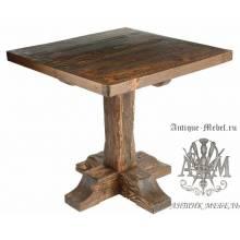 Деревянный стол 80x80 под старину из массива сосны Рыбак, квадратный
