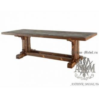 Деревянный стол 300x100 под старину из массива сосны Трапезный