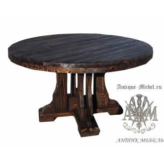 Деревянный стол 150x150 под старину из массива сосны Круглый