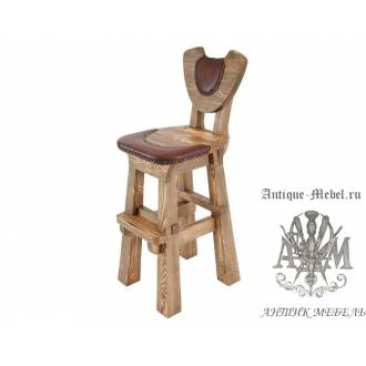 Деревянный стул барный под старину из массива сосны Подкова