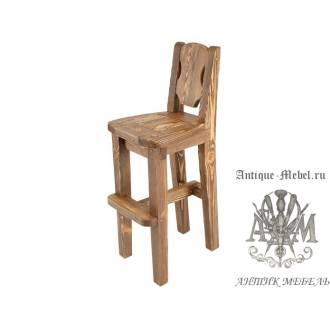 Деревянный стул барный под старину из массива сосны Рошфор