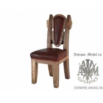 Деревянный стул под старину из массива сосны Франциск мягкий