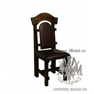 Деревянный стул под старину из массива сосны Солерно мягкий