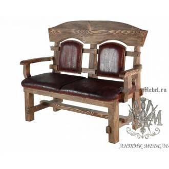 Деревянная скамья под старину 1,3 м. из массива сосны Ришелье-2