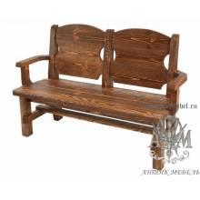 Деревянная скамья под старину 1,4 м. из массива сосны Рошфор
