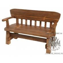 Деревянная скамья под старину 1,3 м. из массива сосны Рыбак