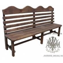 Деревянная скамья под старину 2,5 м. из массива сосны Беседа-2