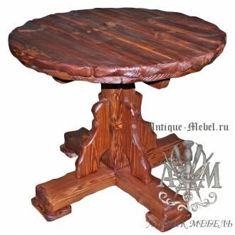 Стол обеденный 90x90 под старину из массива сосны Кострома, круглый