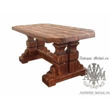 Обеденный состаренный стол 150x90 из массива сосны Владимир