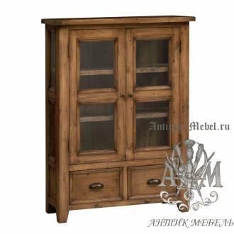 Шкаф-витрина из массива состаренного дерева бука Кантри №1