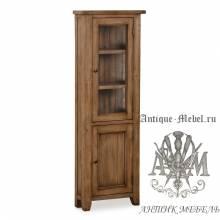 Шкаф-витрина из массива состаренного дерева бука Кантри №2