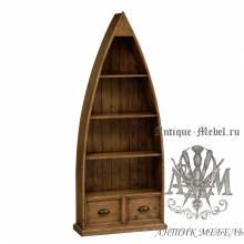 Шкаф книжный из массива состаренного дерева бука Кантри №3