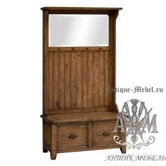 Шкаф в прихожую из массива состаренного дерева бука Кантри №5