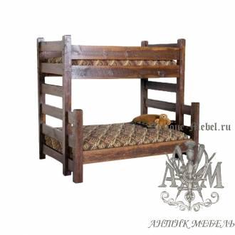 Двухъярусная кровать под старину из массива дуба №1