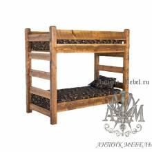 Двухъярусная кровать под старину из массива дуба №2