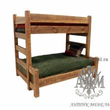 Двухъярусная кровать под старину из массива дуба №3
