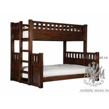 Двухъярусная кровать под старину из массива дуба №4
