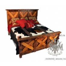 Деревянная кровать под старину из массива дуба №1
