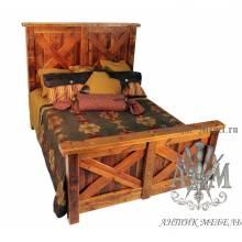 Деревянная кровать под старину из массива дуба №2
