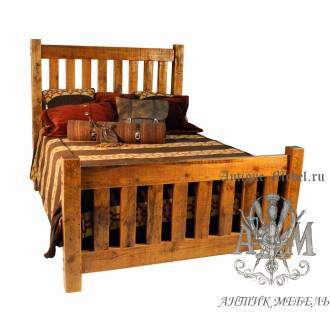 Деревянная кровать под старину из массива дуба №3