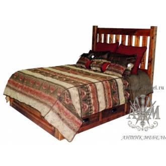 Деревянная кровать под старину из массива дуба №4