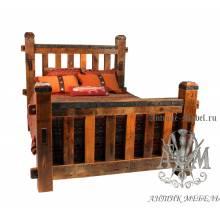 Деревянная кровать под старину из массива дуба №6