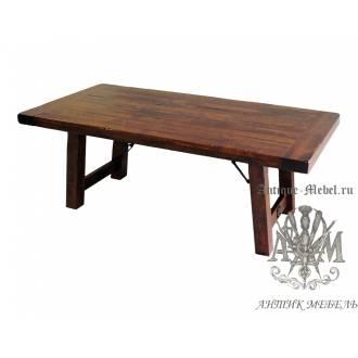 Стол 200x80 обеденный деревянный под старину из массива дуба №1