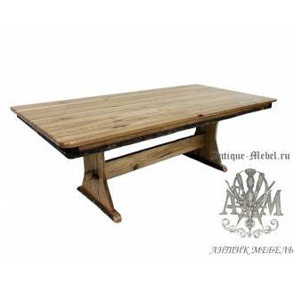 Стол 180x80 обеденный деревянный под старину из массива дуба №2