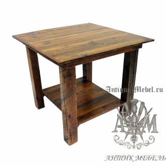 Стол 80x80 обеденный деревянный под старину из массива дуба №6