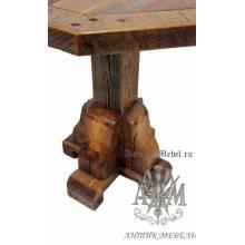 Стол 120x120 обеденный деревянный под старину из массива дуба №7