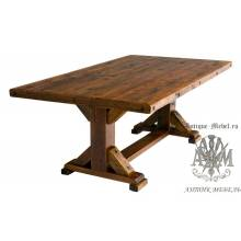 Стол 160x80 обеденный деревянный под старину из массива дуба №10