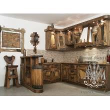 Деревянная кухня Старина из массива состаренной сосны