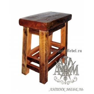 Табурет деревянный под старину из массива дуба №5