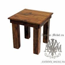 Табурет деревянный под старину из массива дуба №6