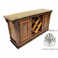 Винный шкаф деревянный под старину из массива дуба №6