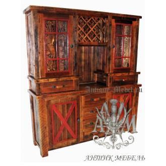 Шкаф деревянный под старину из массива дуба №7