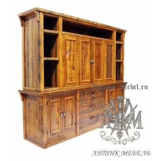 Шкаф деревянный под старину из массива дуба №9