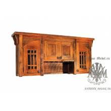 Шкаф навесной деревянный под старину из массива дуба №11
