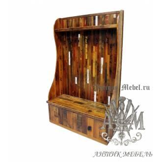 Шкаф для прихожей деревянный под старину из массива дуба №2