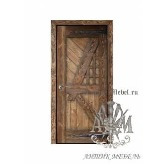 Дверь межкомнатная под старину из дерева массива сосны №7