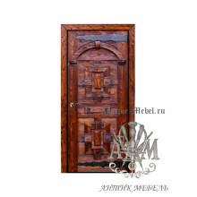Дверь входная под старину из дерева массива сосны №1