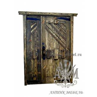 Дверь межкомнатная под старину из дерева массива сосны №12