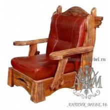 Мягкое кресло под старину из массива сосны №1