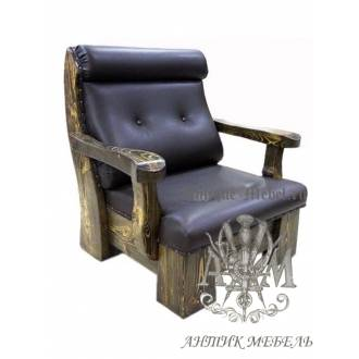 Мягкое кресло под старину из массива сосны №3