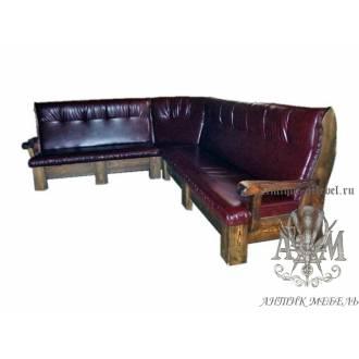 Мягкий угловой диван под старину из массива сосны №6